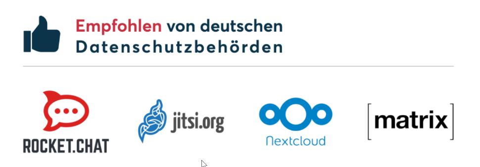 Die Datenschutzbehörden haben für Videokonferenzen zwei Anbieter empfohlen: Jitsi Meet und Nextcloud Talk.